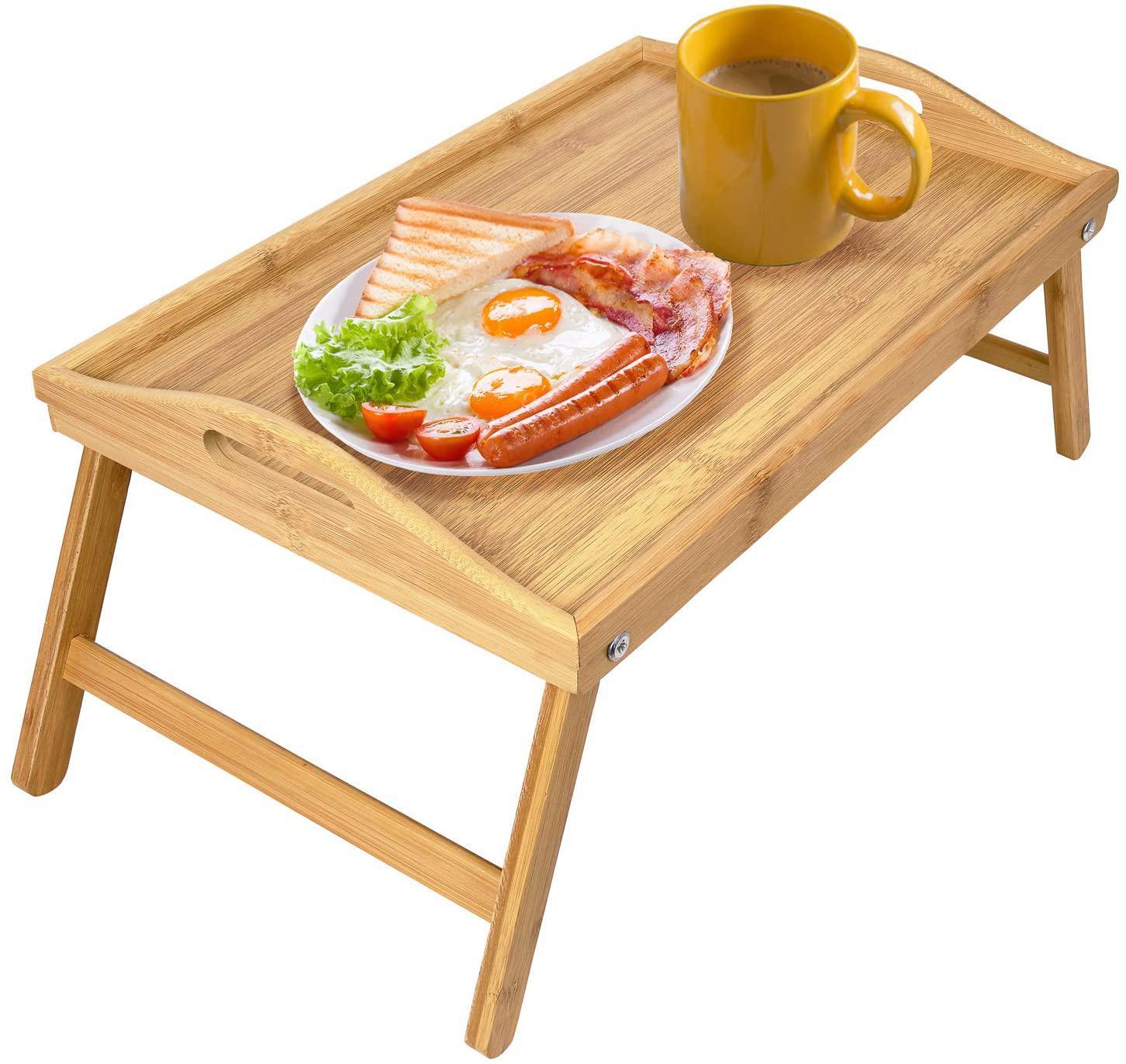 접이식 다리가 대나무 접이식 아침 식사 트레이 테이블 서빙과 트레이 테이블을 침대