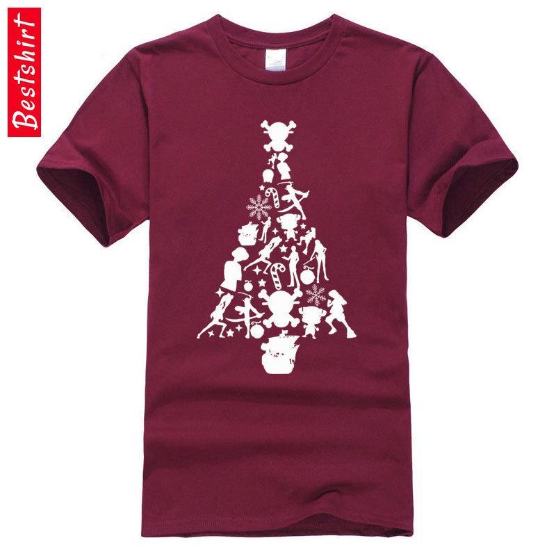 One Piece Рождественская елка силуэт Нью Tshirts Обезьяна Luffy Европа Больший размер Осень 100% хлопок Crewneck Мужская рубашка Tops