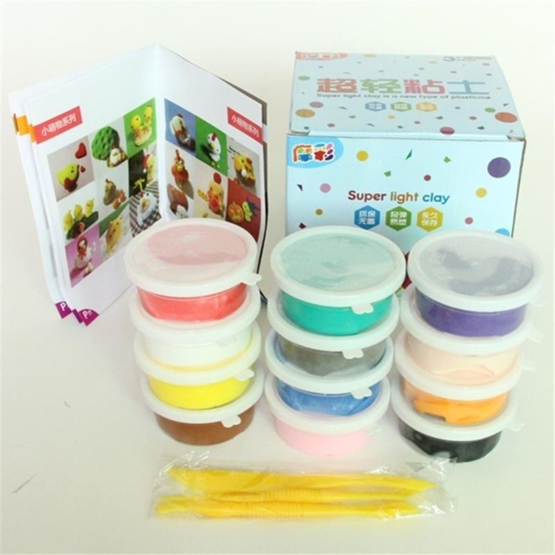 12pcs / çok 20 g 12 renk DIY güvenli ve toksik olmayan Dövülgen Fimo Polimer Kil playdough Yumuşak Güç oyuncaklar Orijinal kutusu ile ayarlanır