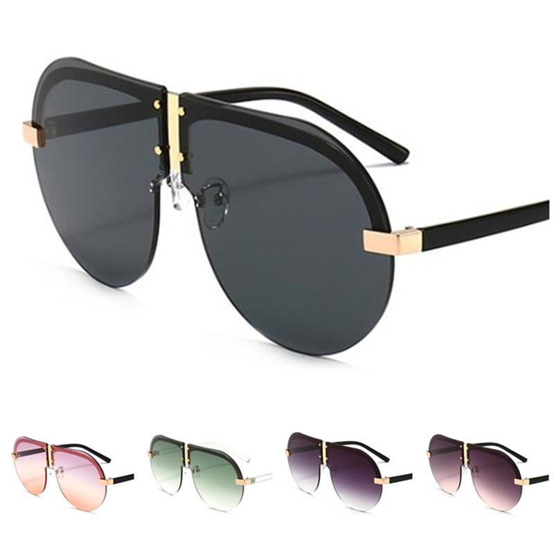 Fashion Women & Men Rimless Sunglasses Personality Sun Glases Frog Mirror Anti-UV Spectacles Oversize Lens Eyeglasses Adumbral A++
