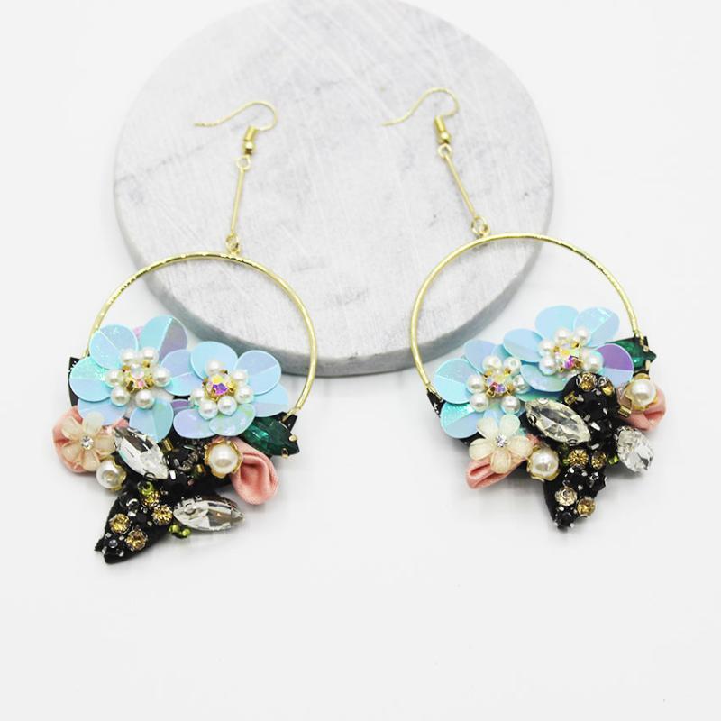 New europäischen und amerikanischen Stil handgemachten Perle Wald Blume Biene Ohrhaken Luxus Stern mit Ohrringe 913