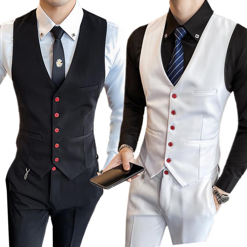 hombre de primavera y otoño juego del chaleco y pantalones de dos piezas negro pantalones chaleco blanco ropa de los hombres delgados banquete de bodas