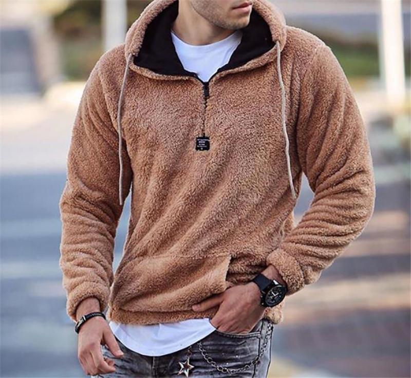 Mode-Männer Soild Farbe Hoodies Warm Plüsch Langarm mit Packet Designer lose mit Kapuze Lässige Kleidung