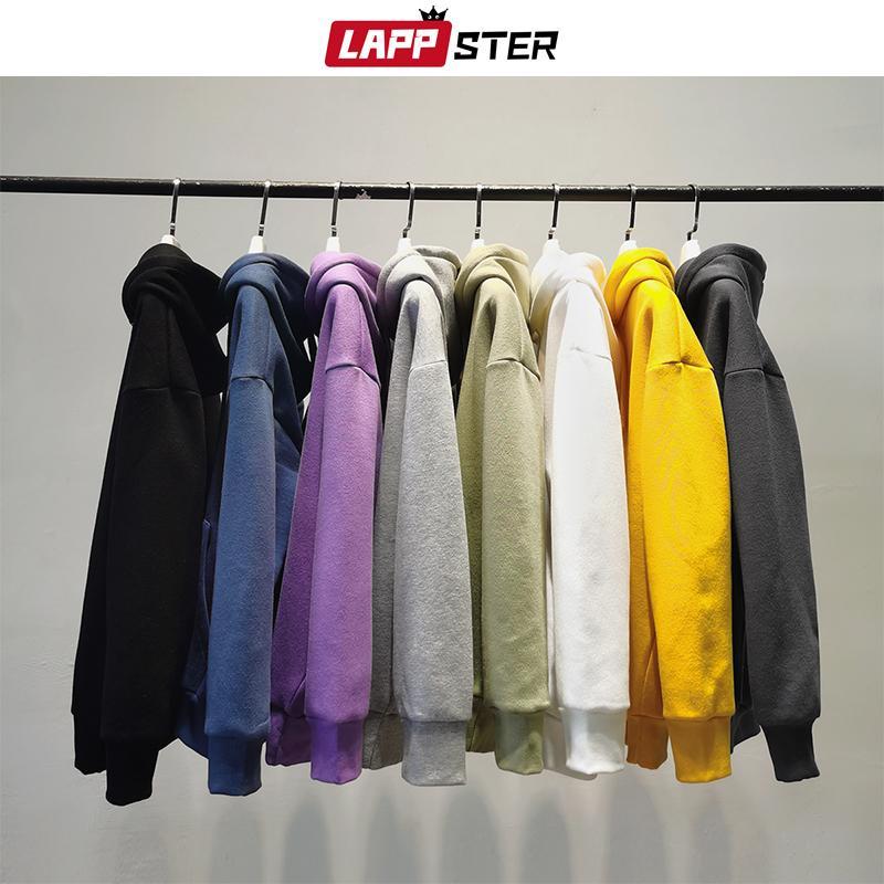 LAPPSTER Hombres sólido Harajuku con capucha sudaderas con capucha 2020 modas para hombre otoño coreano colorfuls Fleece con capucha sudadera con capucha blanca Pareja 5XL