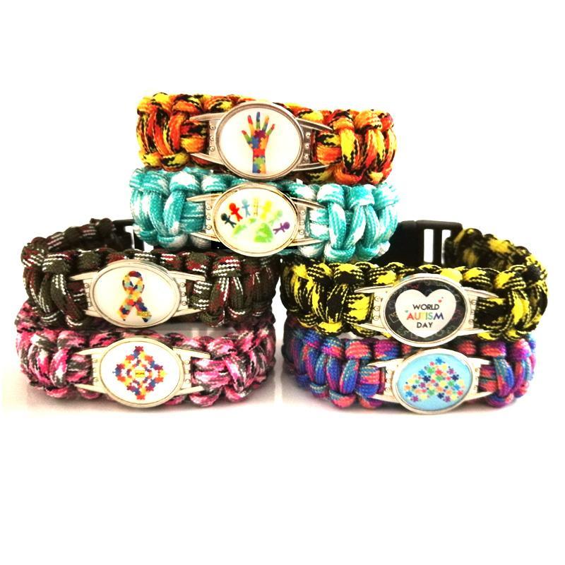 10PC World Autism Day Awareness Hope Ribbon Paracord Survival Outdoor Bracelets for Women Men Friendship Rope Bracelet Jewelry