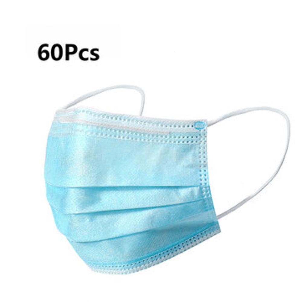 Máscaras desechables 60Pcs Boca mascarilla de 3 capas a prueba de polvo-Protección Personal