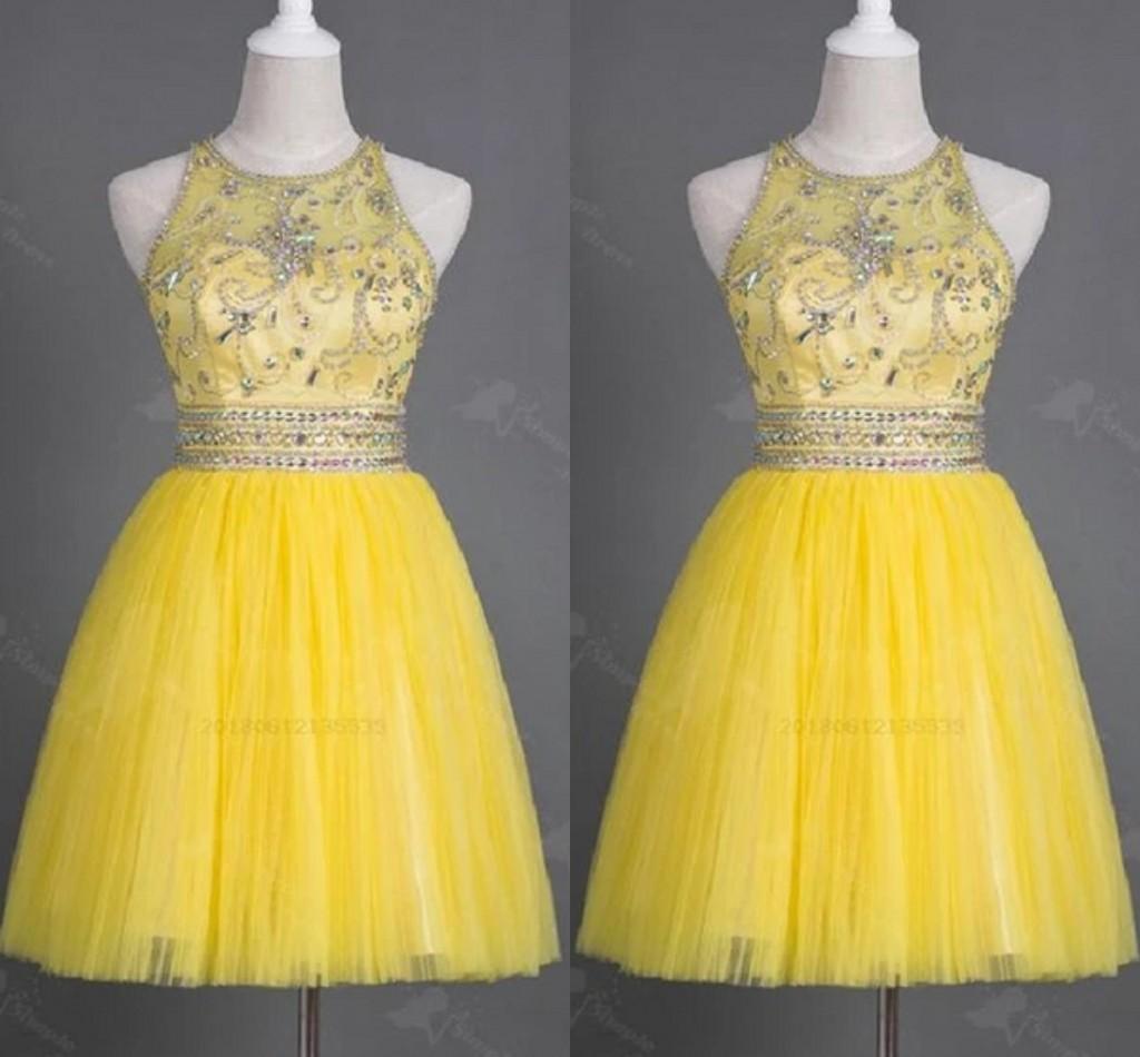 Современные желтый Холтер Короткие Дешевые Homecoming платья Real Photo Кристаллическая и размер Стразы Plus Special Occaio Выпускной вечер платье Дешевые