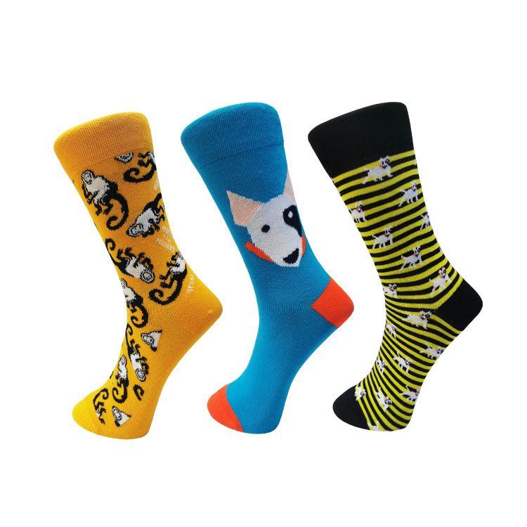 Yeni Tasarım Erkekler Çorap Yaratıcı Köpek Maymun Jakarlı Moda Erkekler Diz Erkek Erkek Giyim Aksesuarları Hediyesi için Yüksek Çorap Komik Çorap