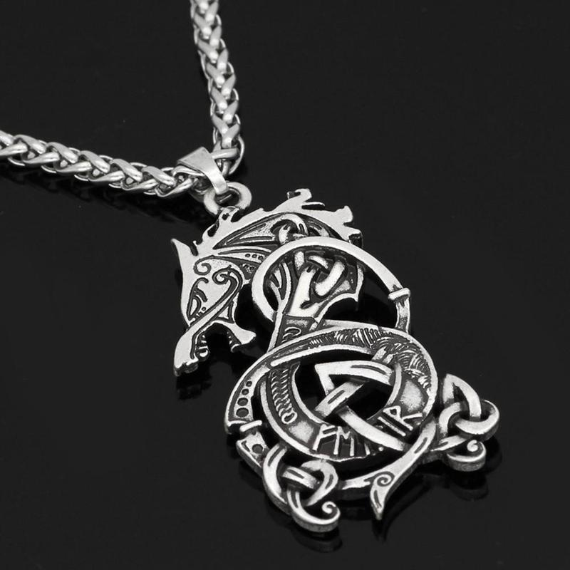 New Vintage Stainless Steel Dragon Pendant Necklace Men Fashion Punk Rock Hip Hop Silver Chain Necklace Women Jewelry Party Gift