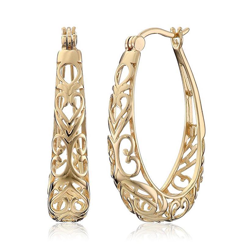 Mode en forme de coeur évidé Floral Boucles d'oreilles Classique Femmes Couleur Or Argent Hoop boucles d'oreilles Bijoux pour Femme Party Cadeau