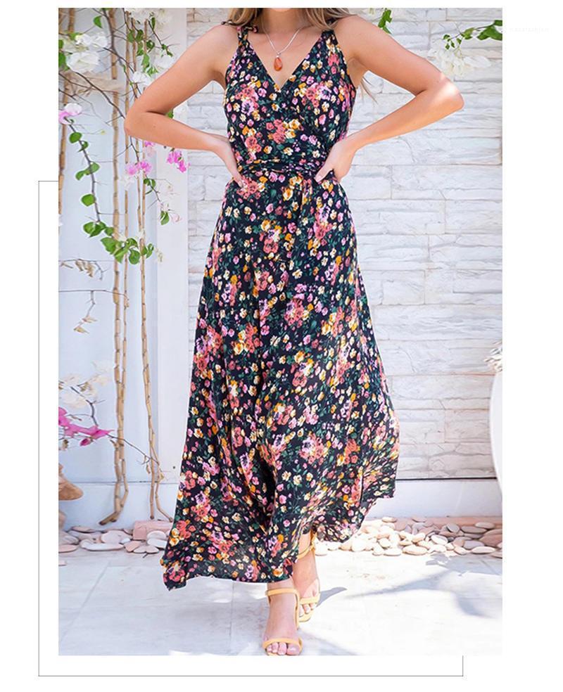 Платье без рукавов Повседневного Designer Summer Спагетти ремень платье дама отдых для печати Моды Одежды Флоры отпечатанных женщин