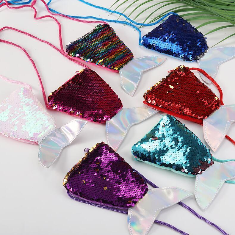 Çocuklar Bebek Kız Cüzdan Noel Hediyeler Yeni E9804 için Mermaid payetli Madeni Para Çanta Payetler Kuyruk Crossbody Çanta Karikatür Glitter Göğüs Bel Çantaları