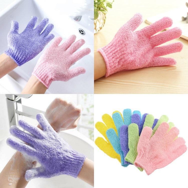 HOT 200pcs doccia pulizia guanti di nylon esfoliante corpo del guanto del bagno Five Fingers bagno bagno Guanti casa e giardino T500173