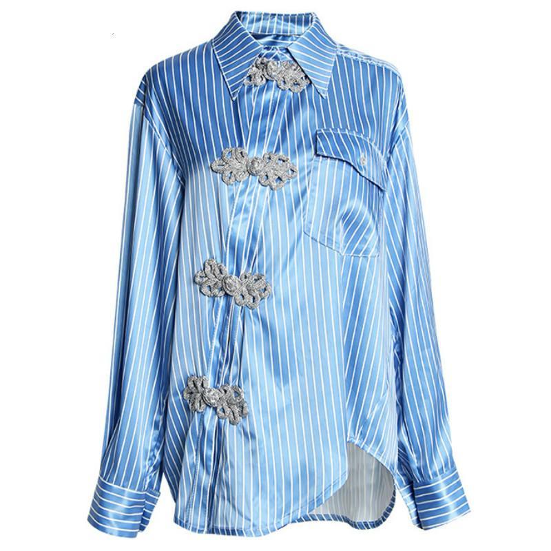 Kadın Bluzlar Gömlek Neploe Retro Çizgili Kadın Turn-down Yaka Uzun Kollu Bluz Çin Tarzı Düzensiz Eşik Butonu Tops 44268
