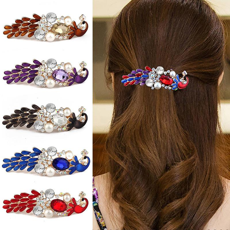 Fashion Crystal Peacock Hairpin For Women Girls Barrette Shiny Rhinestones Hair Clip Bridal Hair Jewelry Accessories Gifts