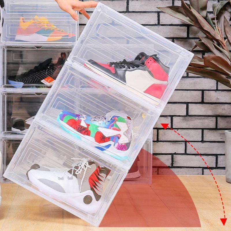 Clear magnetico impilabile scarpe antipolvere scarpe contenitore del contenitore del contenitore del contenitore del contenitore