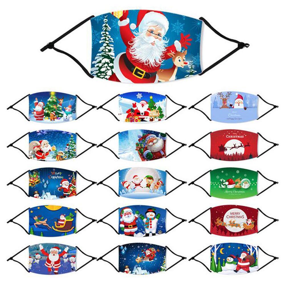 메리 크리스마스 페이스 마스크 패션 사슴 만화 눈송이 축제 필터 패드와 방진 재사용 빨면 입 커버 마스크