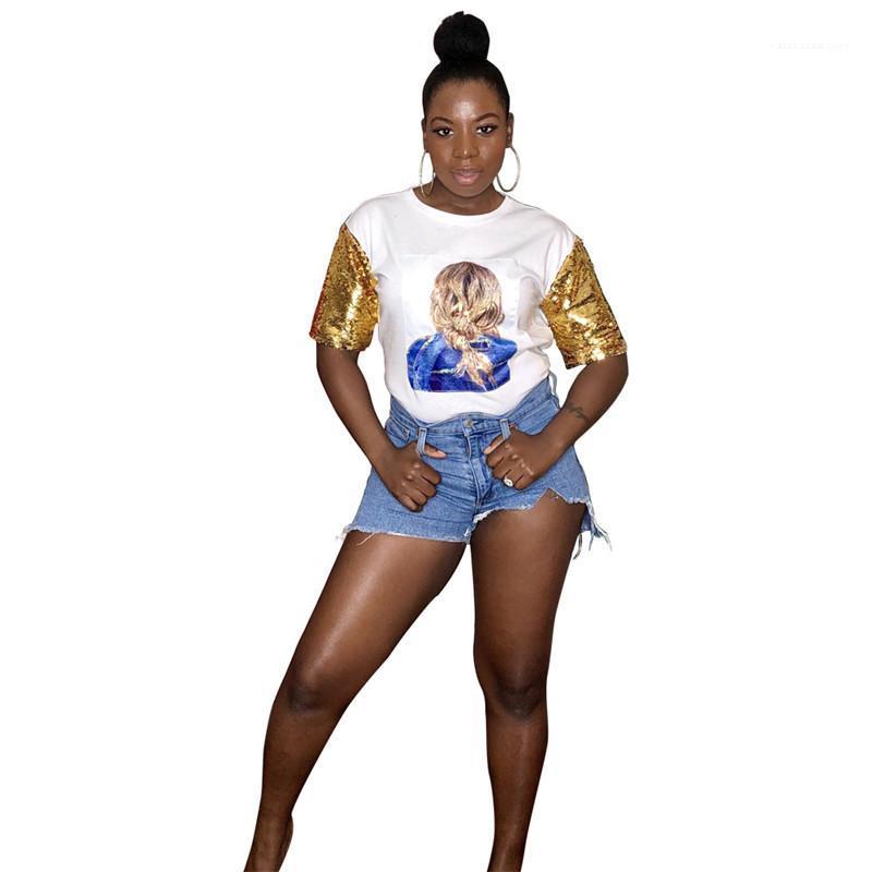 Traspirante Slim moda casual disegnatore magliette di estate delle donne Trend testina di stampa con paillettes manica corta T-shirt
