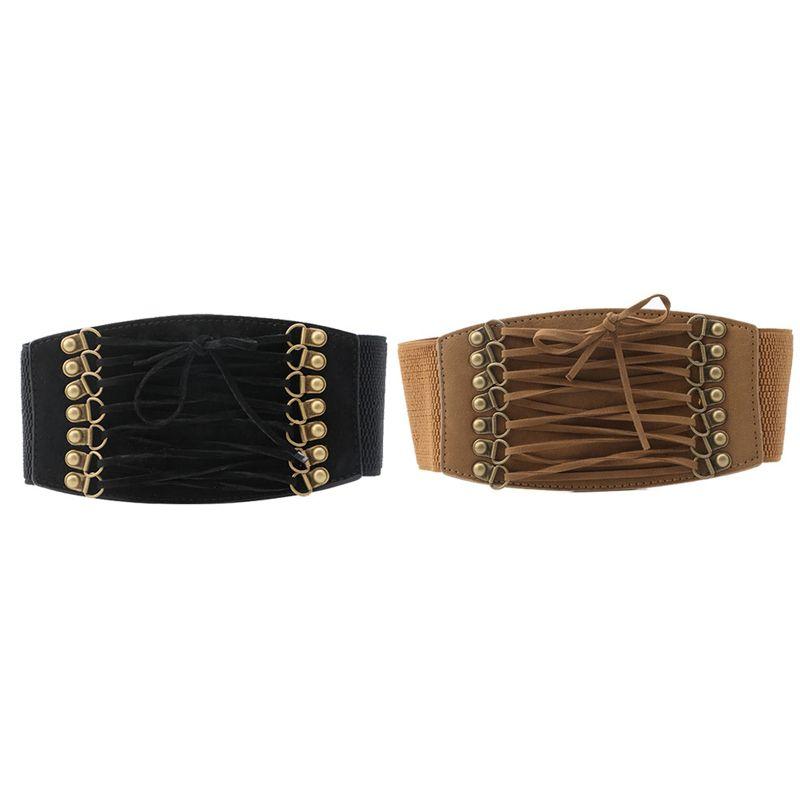 Fibbia elastica della signora Women cinturino largo Retro corsetto Stretch cintura Moda Nero / Marrone