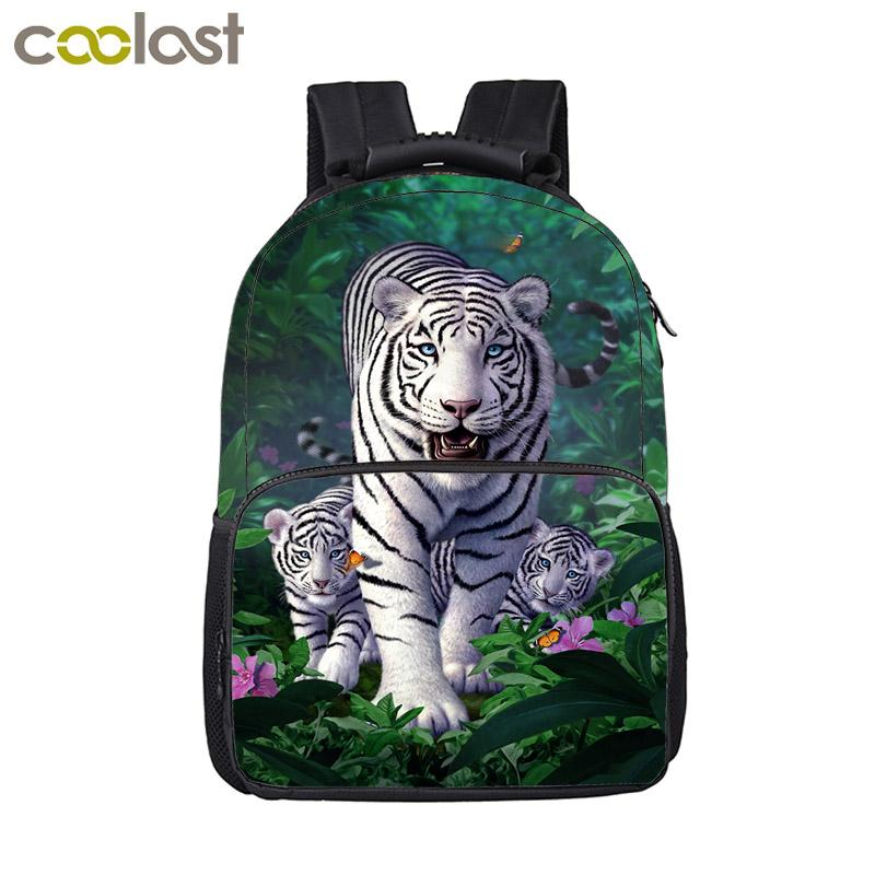 Cool Harajuku White Tiger Backpack For Teenage Children School Bags Boys Girl Preppy Style Laptop Backpack Hip Hop Book Bag