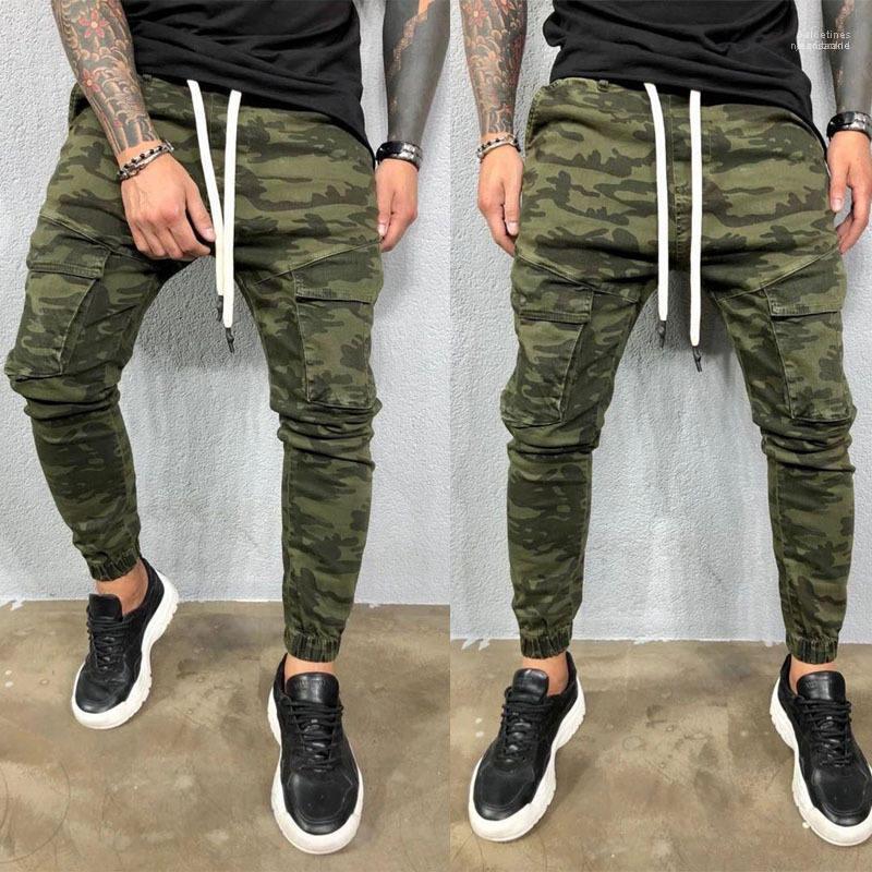 Yeni Stil Gençler Giyim Erkek Jeans Kamuflaj Erkek Kalem Pants nedensel Cepler