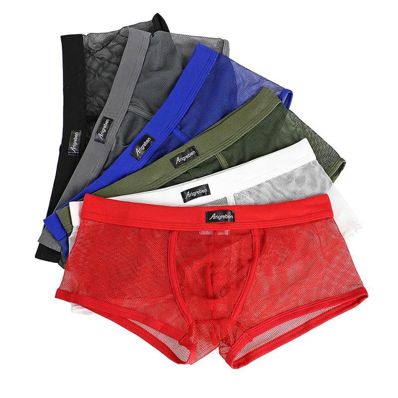 Нижнее белье Мужчины Sexy Letter Printed Gay Boxer дышащие шорты Soft Удобная сетка See Through Bulge Чехол Underpants