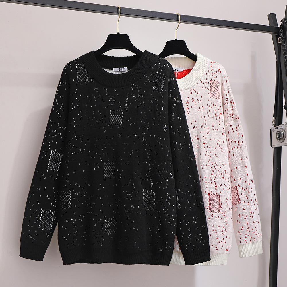 mm2020 hermana de grasa manera más la de las mujeres caen sueltos adelgazamiento suéter de punto de manga larga tamaño suéter de cuello redondo jersey de las mujeres 2XL-6XL