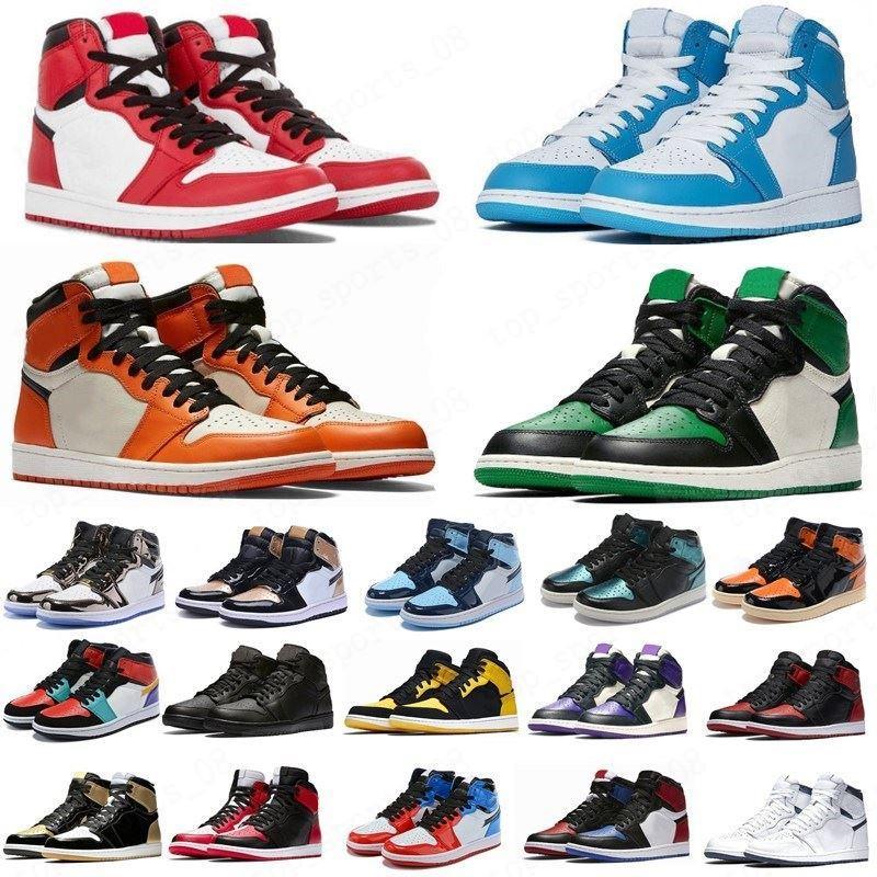 Pin chaud vert noir 1s chaussures de basketball Jumpman 1 Bloodline Hommes Sneakers Mode Sneakers Fearless Unc Brevet Toe Noir Toile
