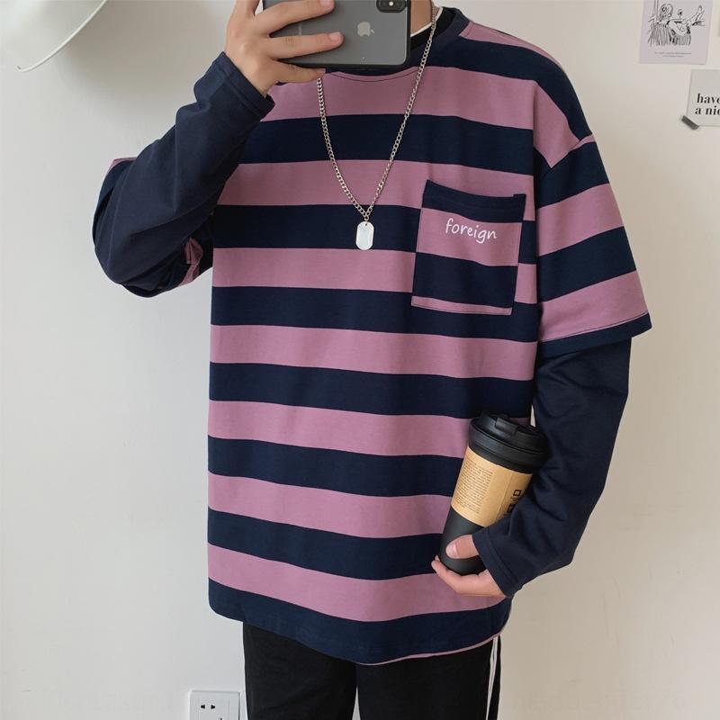 Er3fW осень пальто мужского хип-хоп рыхлого длинный рукав ины тонкого fx0qB свитер свитер осень одежда Корейский стиль модного полосатое пальто