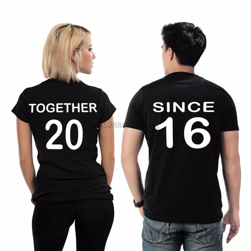 Hot Sale T Shirt Hip Hop Tee Shirt Customizable Matching Couple T Shirt Together Since ____ T Shirts For Men