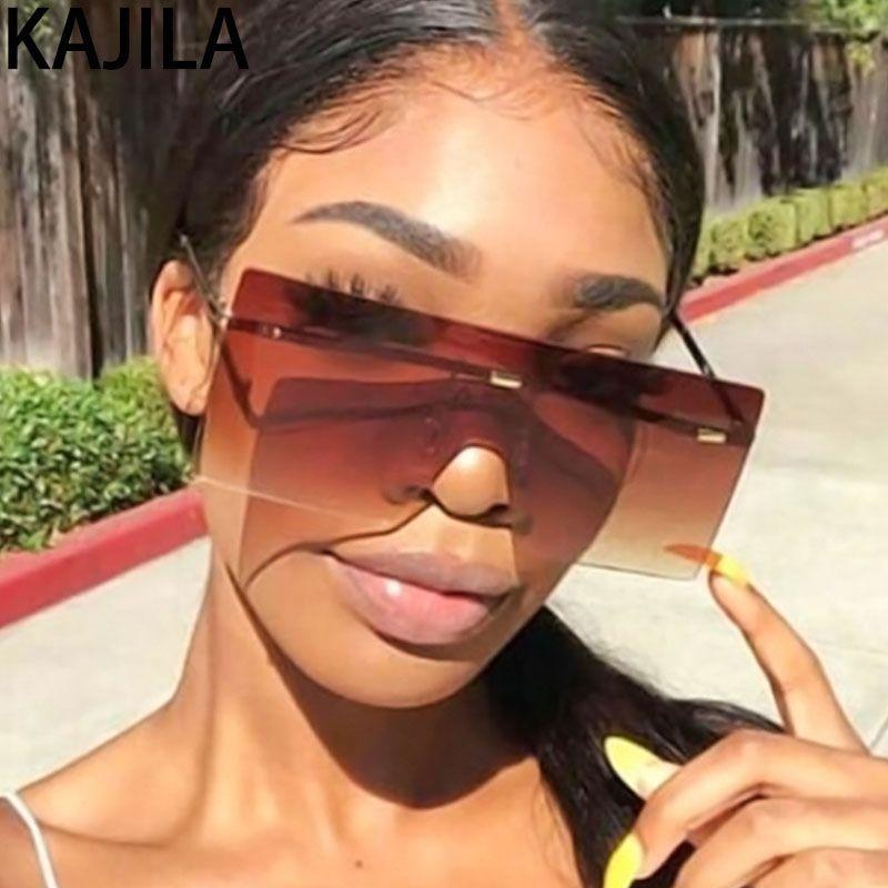 2020 Art und Weise übergroße Sonnenbrille-Frauen-große Feld-Marken-Designer Randlos Sun-Glas-Farbton für Frauen Jahrgang Lunette de soleil