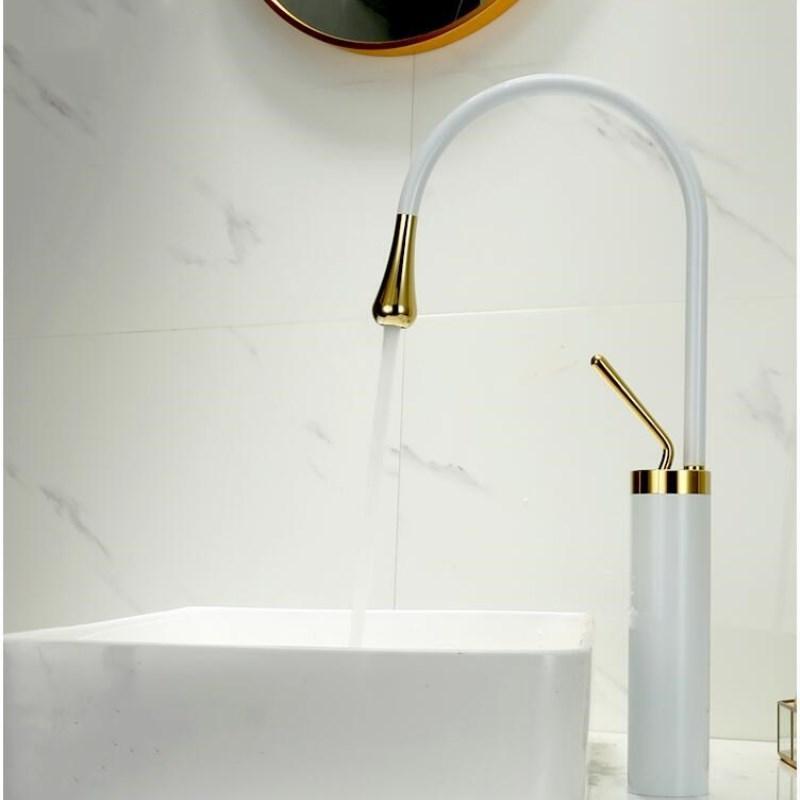 Badezimmer Waschbecken Wasserhaare Blasin Black Gold Wasserhahn Für Mixer Hohe Wasserhähne Wasserfall Einzelne Loch Torneira