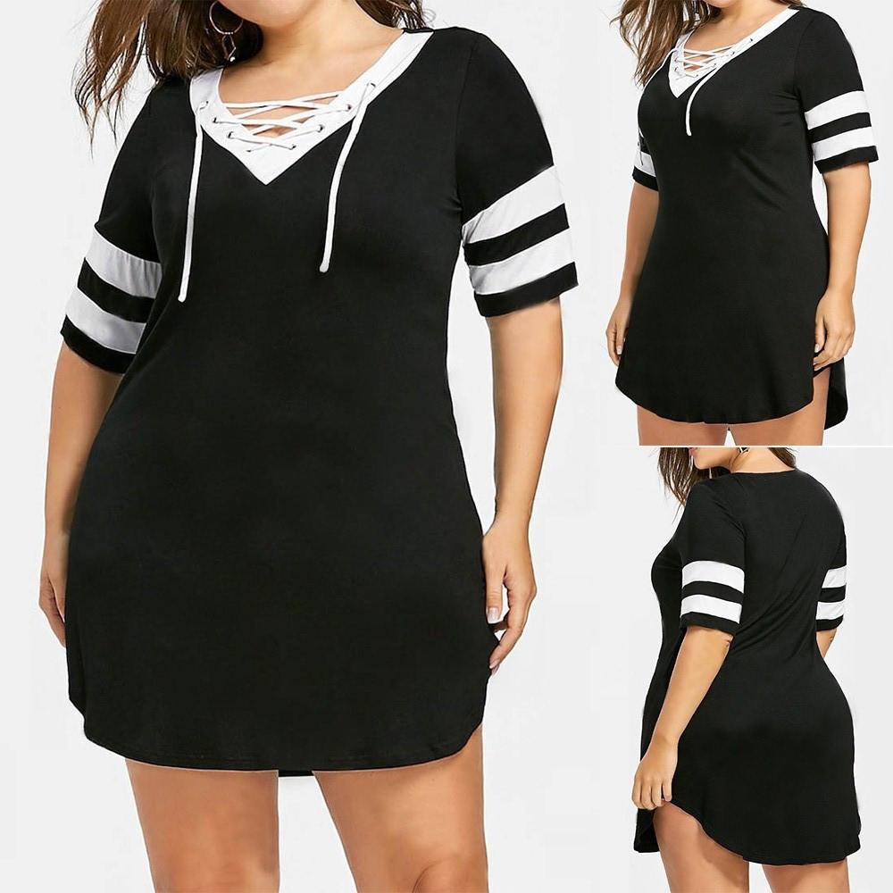 Kadınlar Plus Size Patchwork Çapraz Kayış t gömlek elbise V yaka Kısa Kollu Bölünmüş Mini günlük ofis spor elbise Ropa mujer # es MODIS