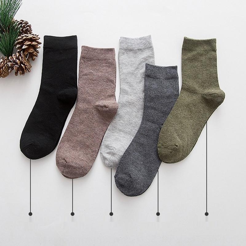 мужская середина трубка осень и носки зимой дезодорант от пота вата Сплошного цвета мужских хлопчатобумажных носков спортивных тенденции длинных трубки бизнес 8eA4