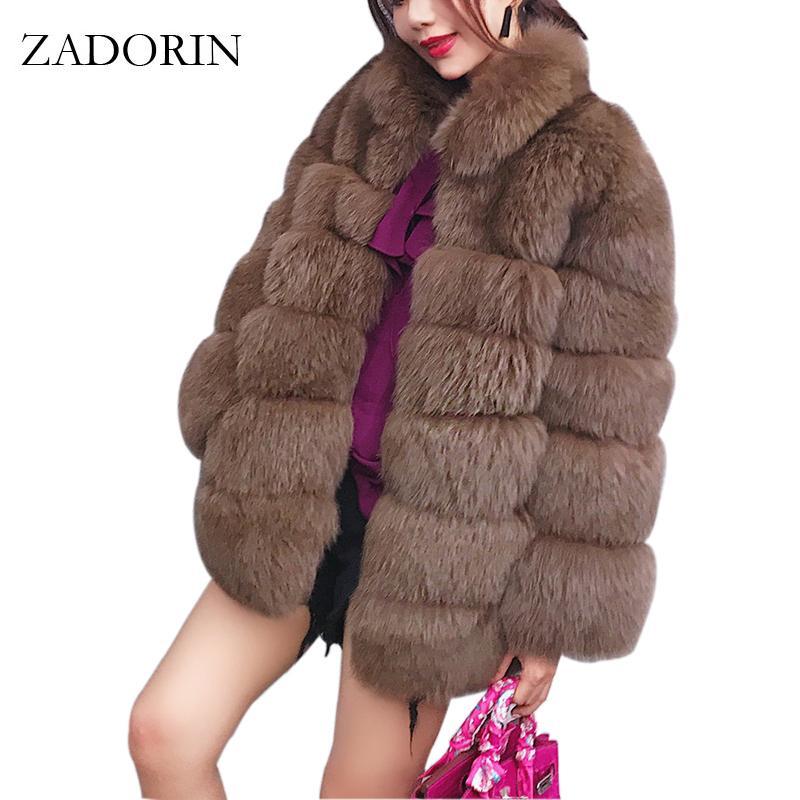 ZADORIN 2020 Plus Size tuta sportiva di inverno Furry Faux Fur Coat Donne alto colletto a maniche lunghe pelliccia falsa giacca fourrure abrigos mujer T200915