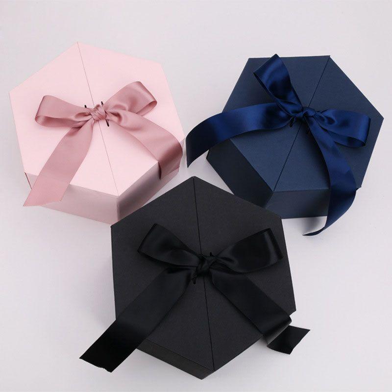 Шестигранные Фасонные Подарочные коробки с Bowknot букет цветов Коробки свадьбы пользу партии Present Package