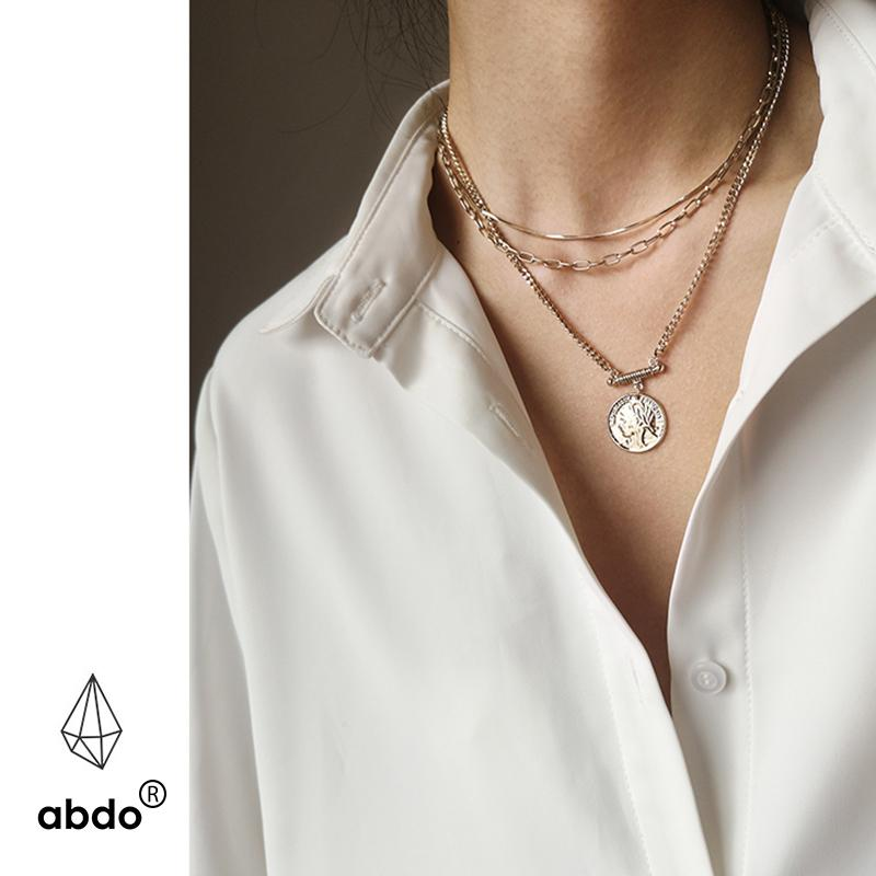 Pendant Necklaces 2021 Fashion Trendy Gold Color Plating Coin Special Hanging Type Layered Necklace For Women Girl