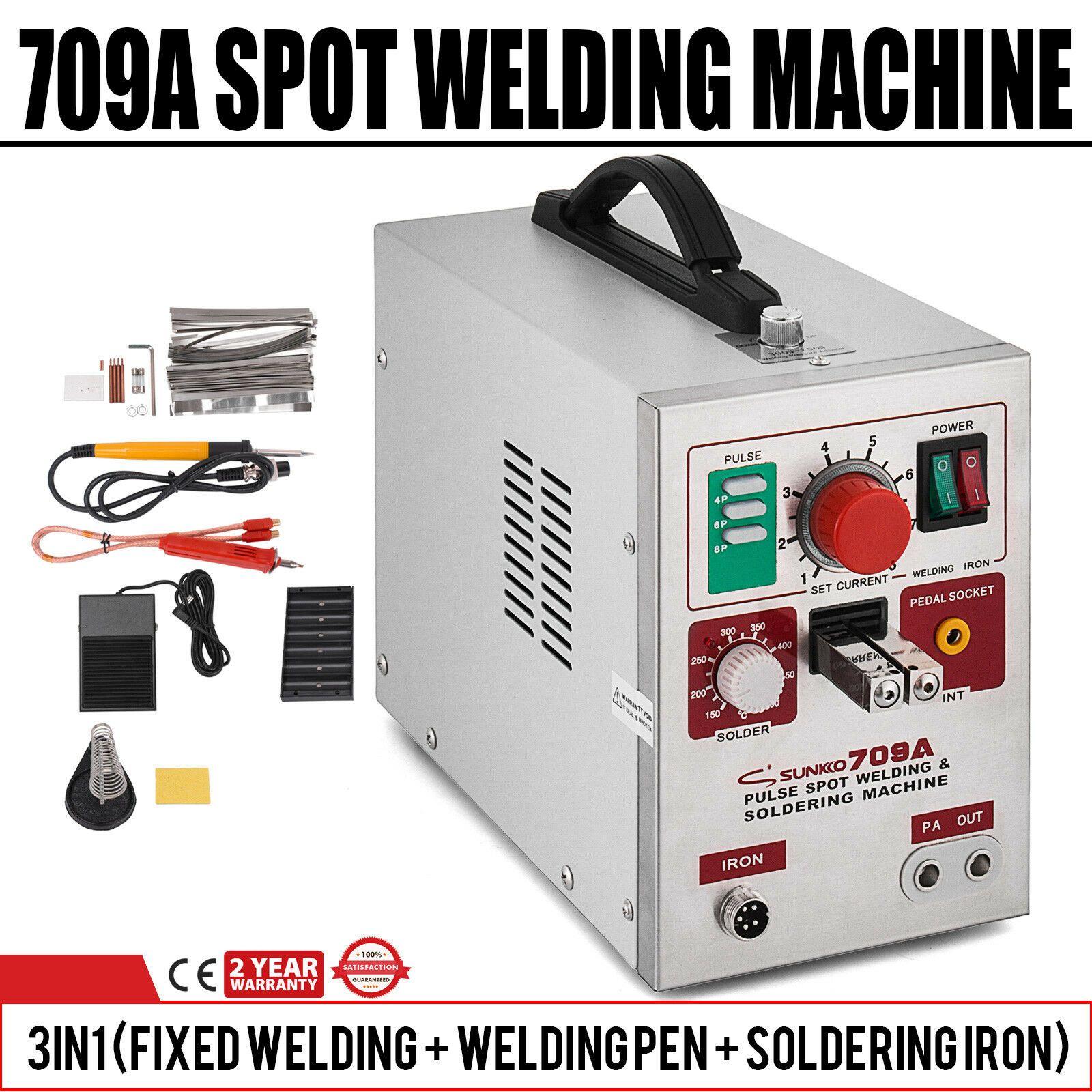 ماكينة لحام بقعة موبايل المحمولة 709A 2-in-1 مع آلة لحام بقعة إضاءة LED قابلة للتعديل