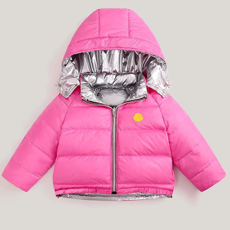 Дети зимние для девочек сгущаться Пальто мальчиков Куртка с капюшоном Двусторонний Outwear 3-10 Y Дети белая утка вниз куртки C0924