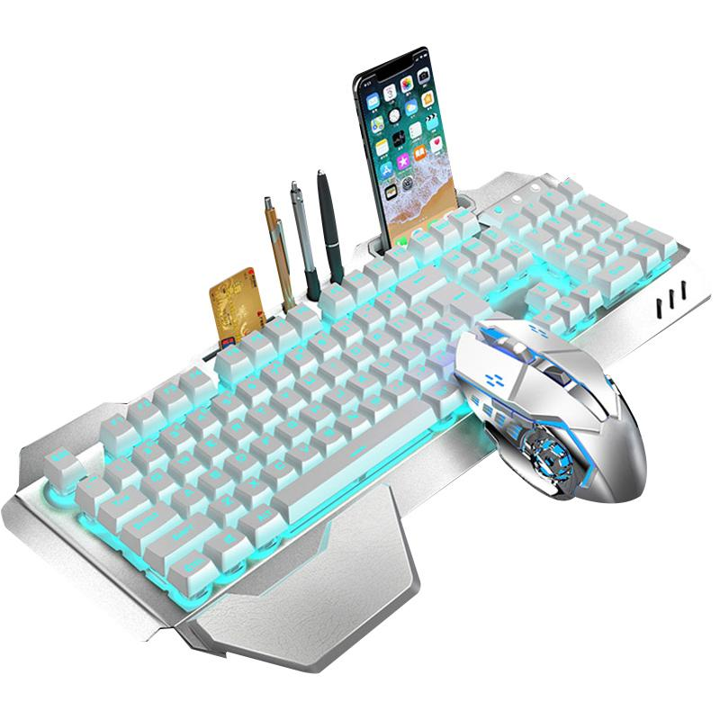 Hot Sale Gaming Keyboard Keyboard Mouse Set Chargable sem fio com luzes mouse colorida com 4 DPI ajustável