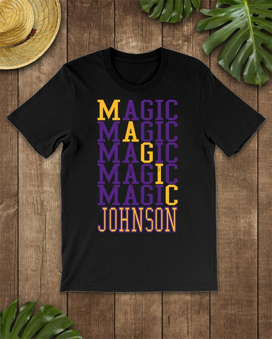 Art Magic Johnson Palavra T-shirt de manga curta preto-Navy Homens-Mulheres-Juvenil Casual Imprimir Moda Camiseta