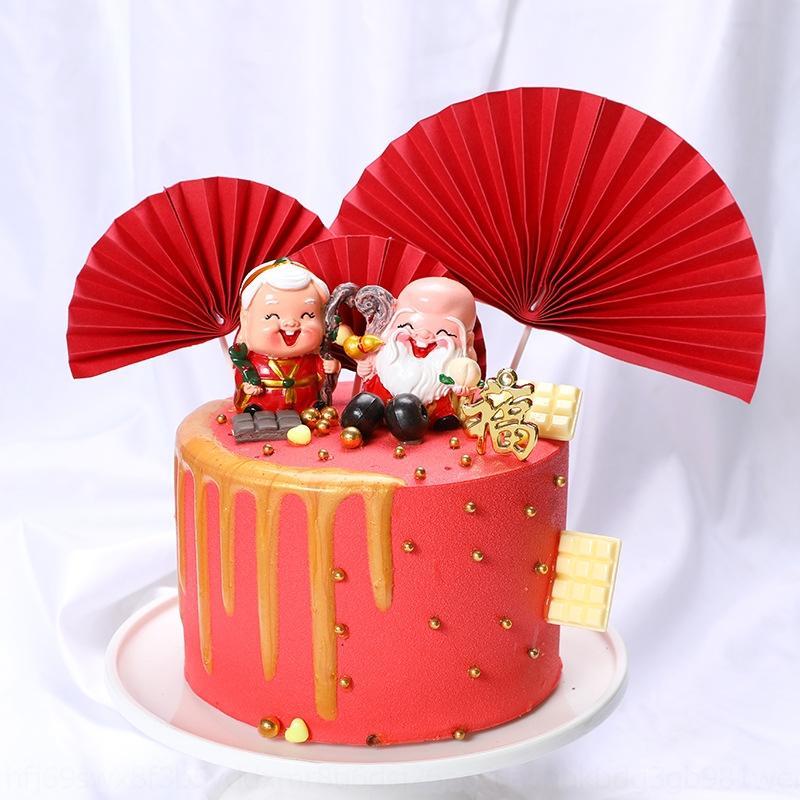 plug-in de la decoración de los accesorios de color rosa accesorio azul roja de la torta semicírculo abanico plegable tarjeta de la torta de girasol 2kdow