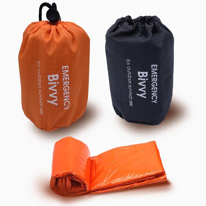 Outdoor Life Notfallschlafsack Thermal warm halten Wasserdichtes PE Aluminium Ailm Erste-Hilfe-Notdecken Camping Überlebens-Werkzeug VT1644