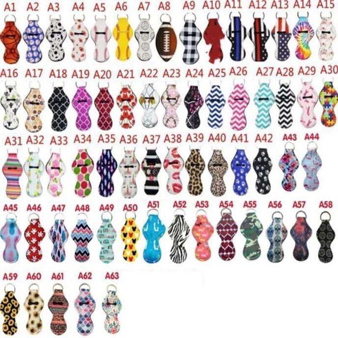 Neopren-Schlüsselanhänger Sports Printed Chapstick Halter Leopard Keychian Wrap Lippen Abdeckung Partei-Bevorzugung Weihnachtsgeschenk 61 Designs Kostenloser Versand YW1710