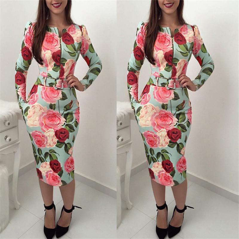 Женская бедра юбка одежда женщин элегантное платье весна молнии с длинным рукавом цветочные напечатанные платье леди одна часть