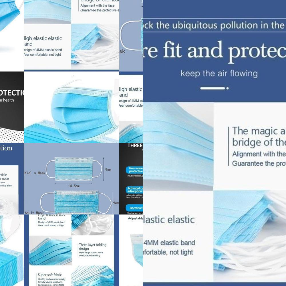 100 piezas desechables de 3 capas de la mascarilla de respiración a prueba de polvo 50pcs azules Seguridad boca cubierta / caja L3N7L MI2ST ONYD