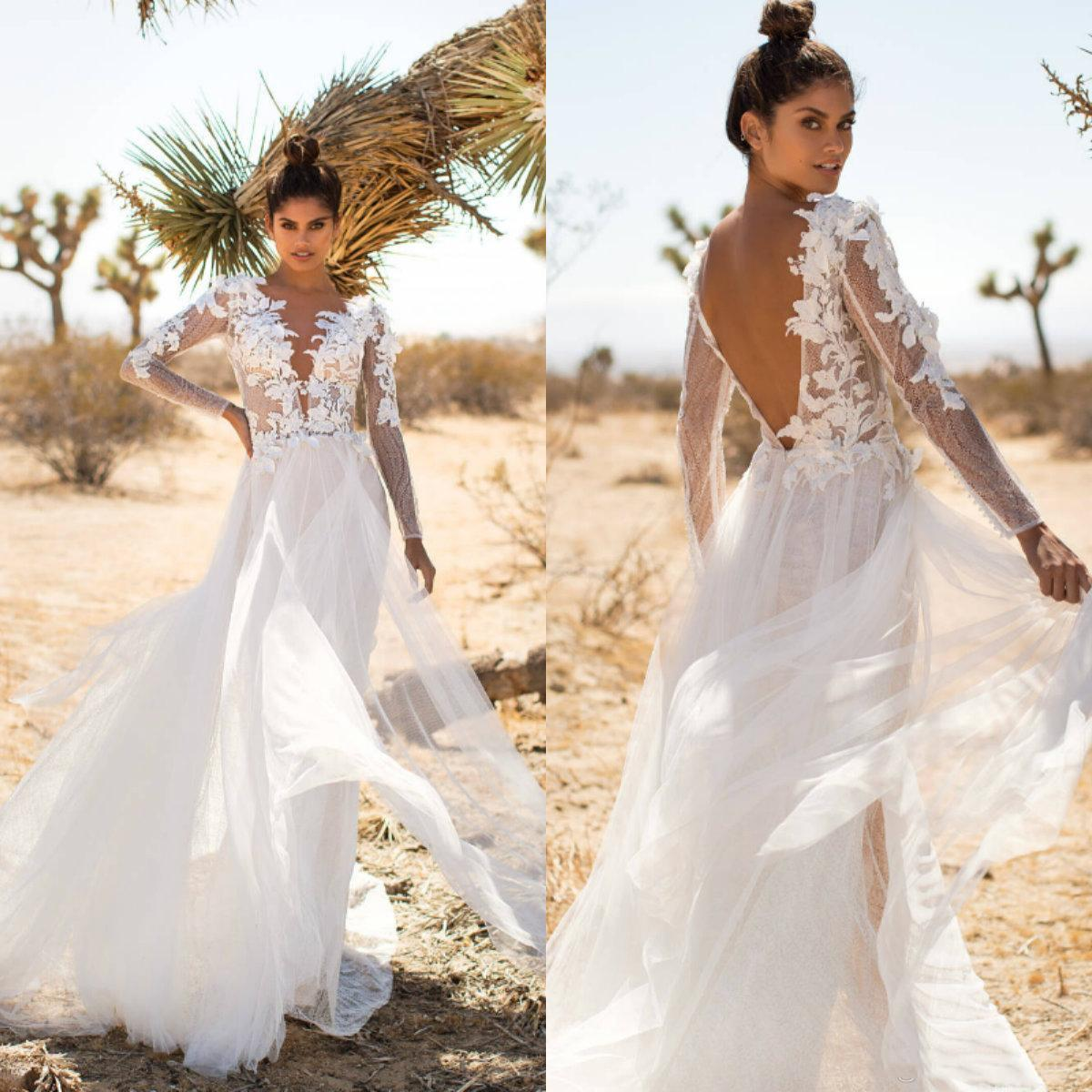 Milla Nova 2020 Robes de mariée col en V à manches longues en dentelle balayage train Tulle Appliques Robes de mariée Backless Robe de mariée pas cher