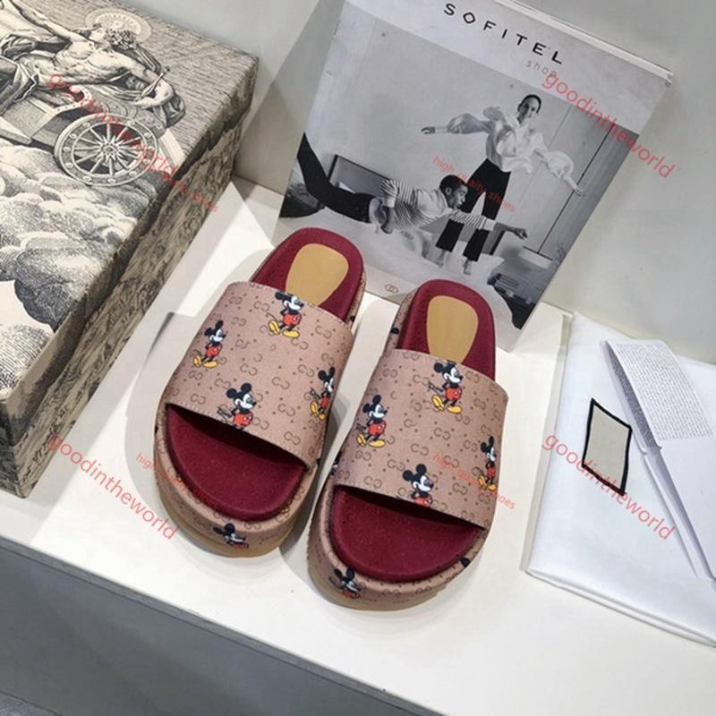slippers  progettista Sandali estate dell'alto tallone del cuneo della piattaforma pistone del sandalo di marca Fends Flip Flop lusso pistone della spiaggia