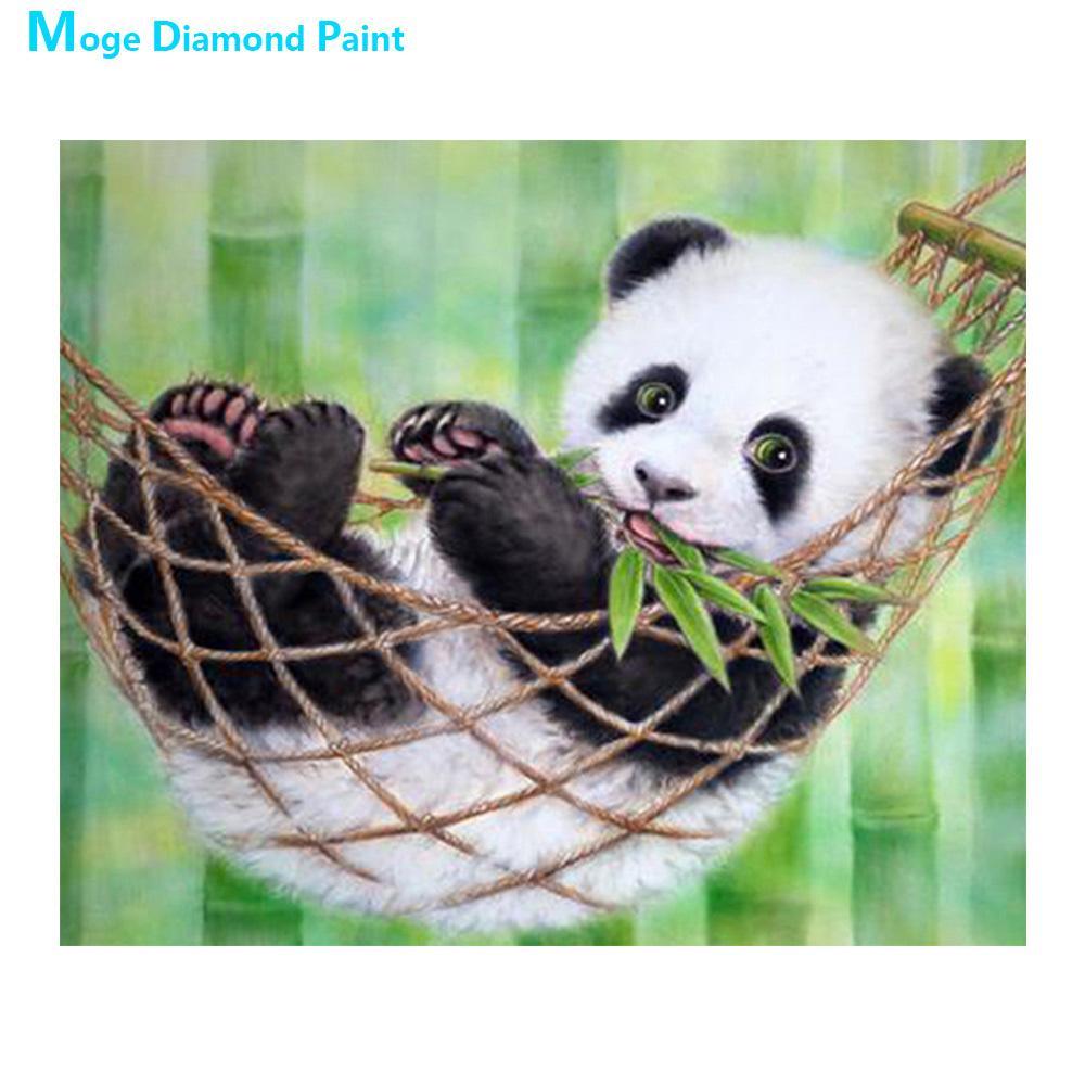 Panda de bambu verde Diamante Animal pintura Rodada completa broca Crianças dos desenhos animados de decoração presentes DIY Mosaic Bordado 5D Cross Stitch C0926
