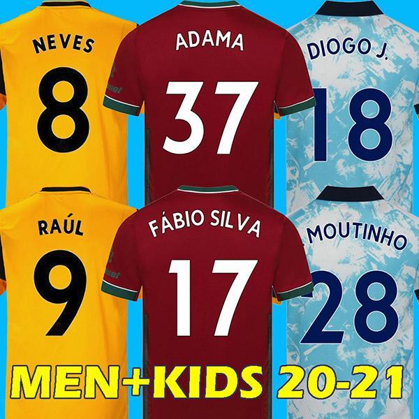 20 21 الذئاب كرة القدم جيرسي ولفرهامبتون واندرارز قميص كرة القدم راؤول NEVES DIOGO ADAMA COADY موتينيو BENNETT تايلند الرجال الاطفال مجموعات